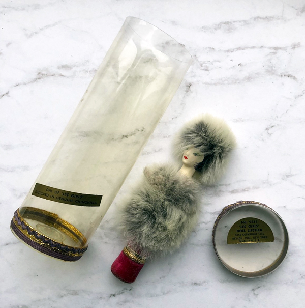 Revlon Couturine doll lipstick with chinchilla fur, ca. 1962