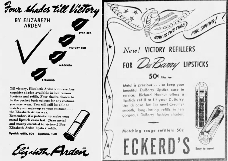 Elizabeth Arden and Hudnut lipstick refill ads, 1942