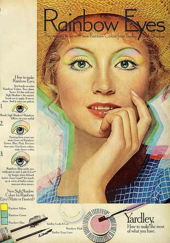 Yardley rainbow eyes ad, ca. 1970