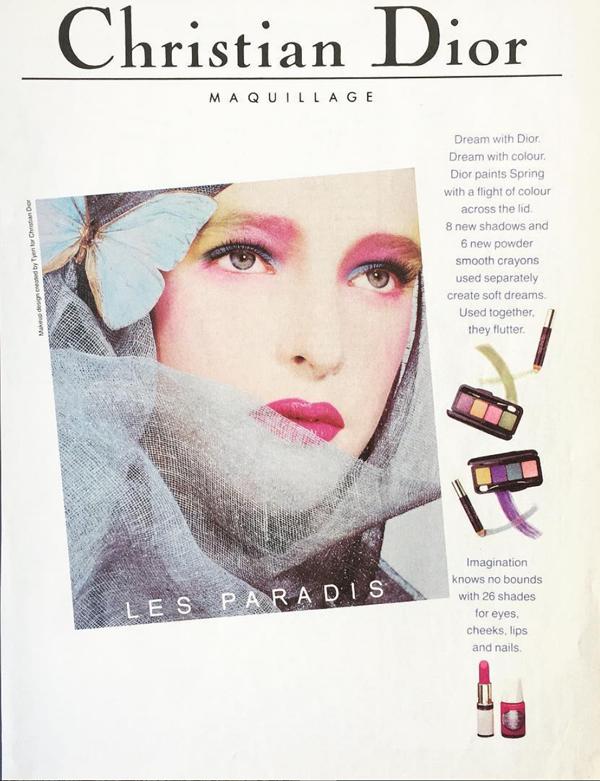 Dior makeup ad, spring 1985, makeup by Tyen