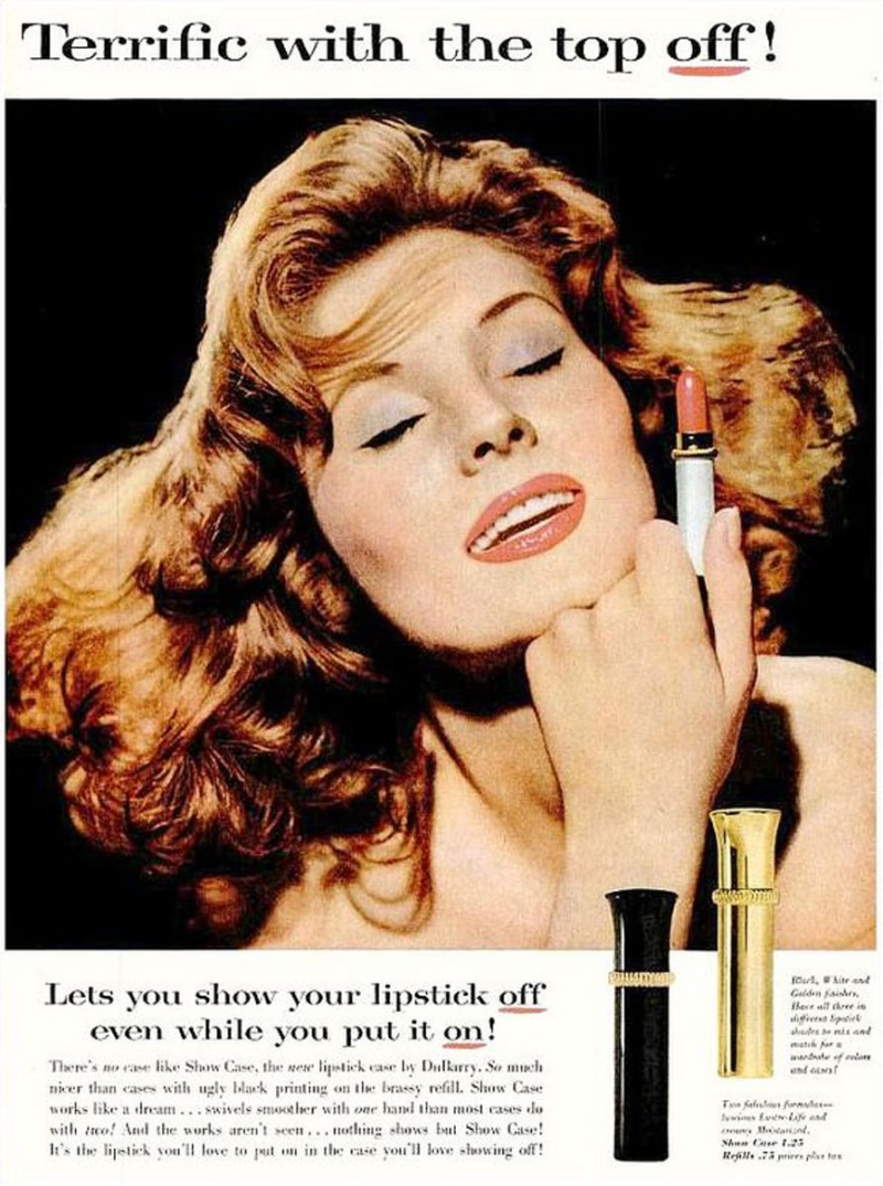 Dubarry Showcase lipsticks ad, 1957