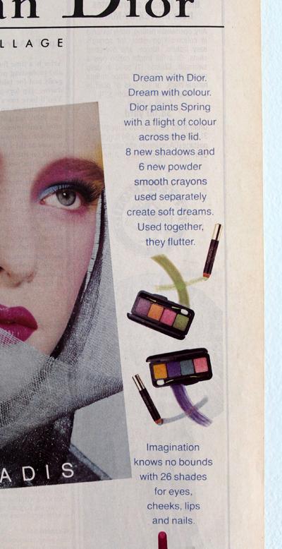 Dior makeup ad, spring 1985
