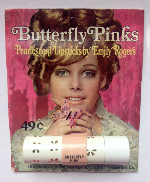 Emily Rogers butterfly lipstick, ca. 1965