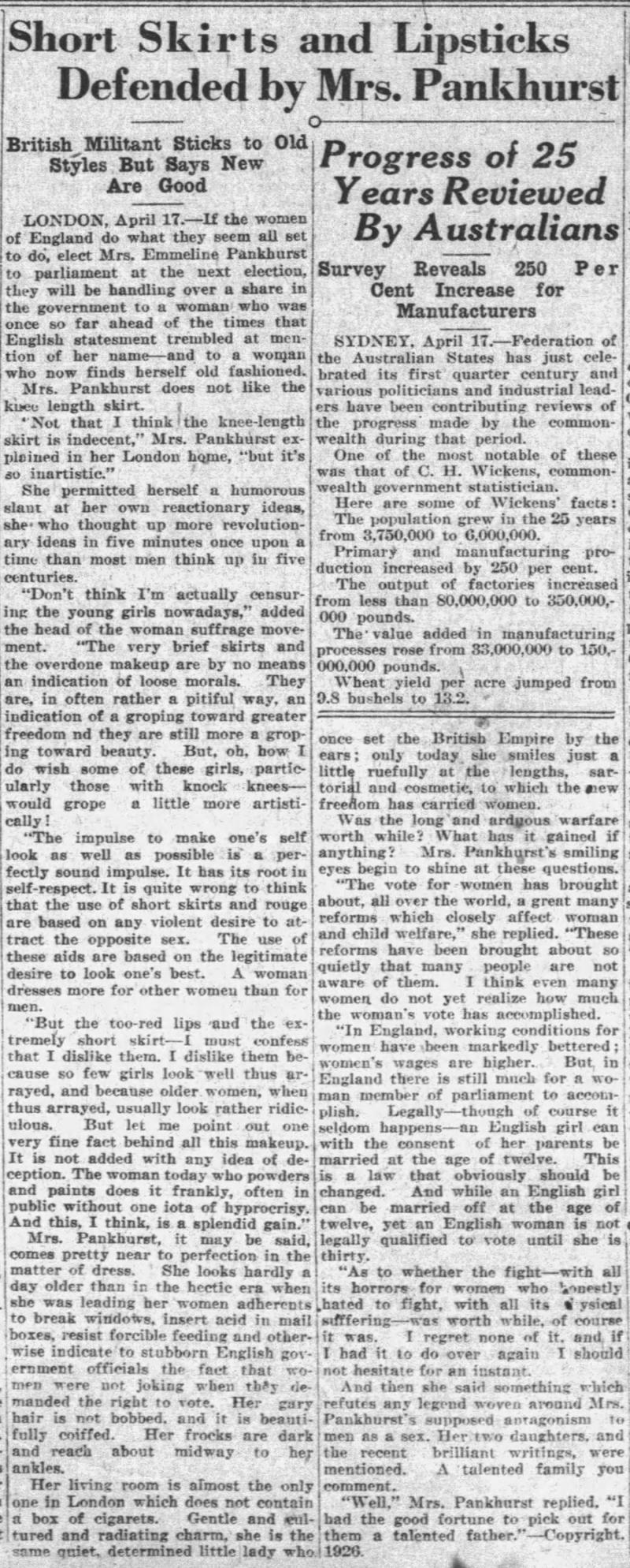 Emmeline Pankhurst profile -Apr_18__1926_