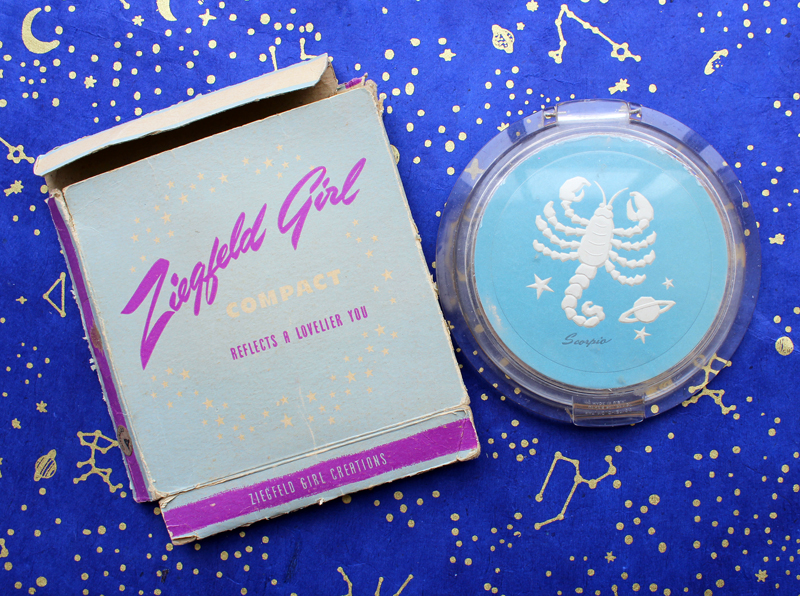 Ziegfeld Girls Scorpio zodiac compact, 1946