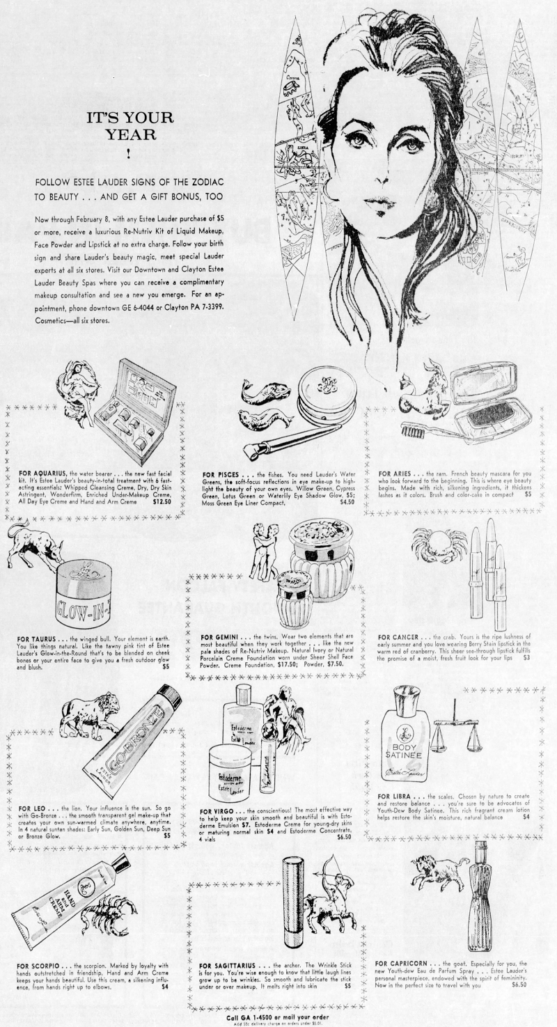 Estée Lauder beauty horoscope recommendations, January 1969