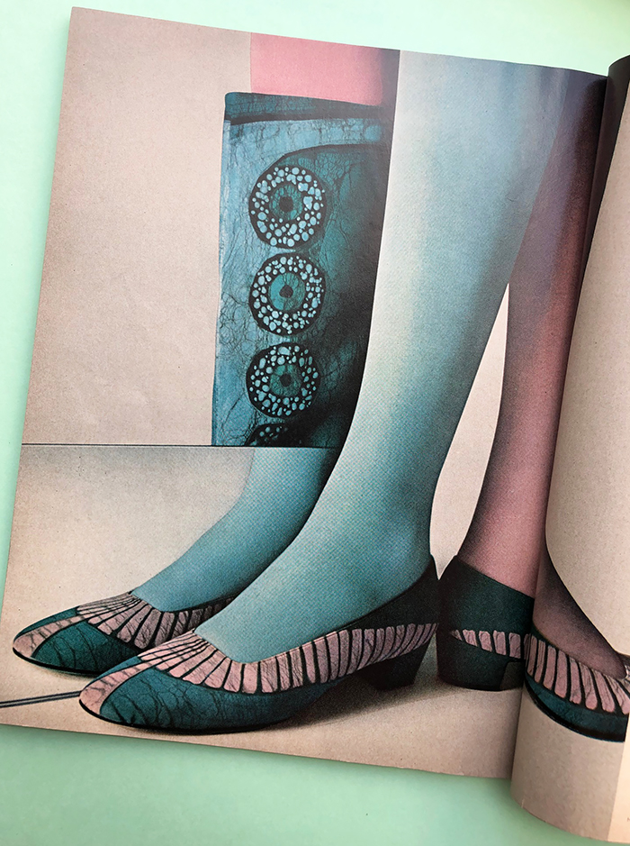 Givenchy leg paint, Harpers Bazaar January 1967