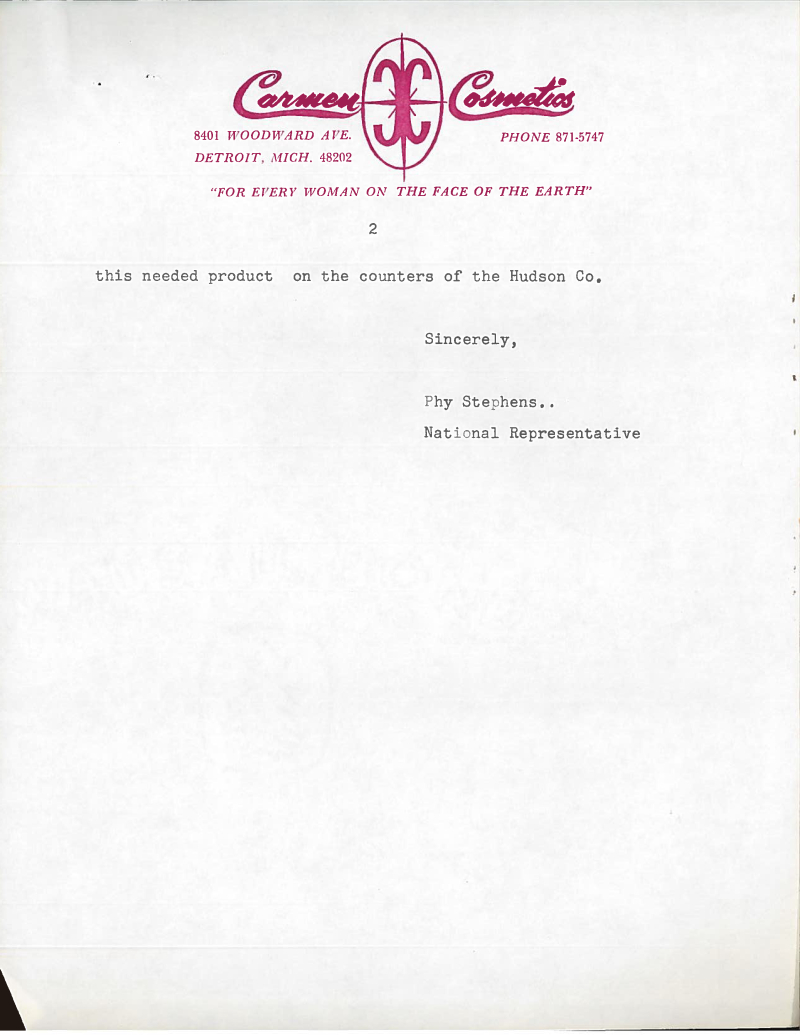 Carmen Cosmetics sales letter, 1967
