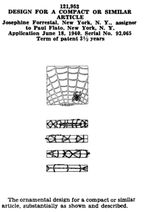 Josephine Forrestal spiderweb compact patent 121,953