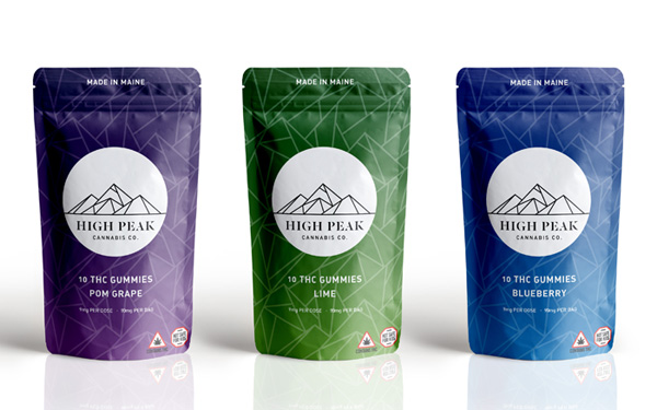 High Peak Cannabis Co gummy packaging by Bob Jordan
