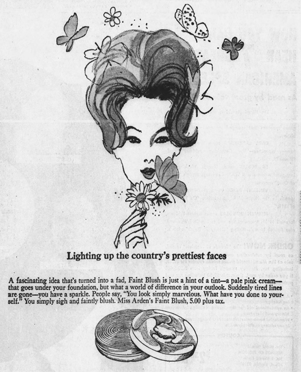 Newspaper ad for Elizabeth Arden Faint Pink, February 1964