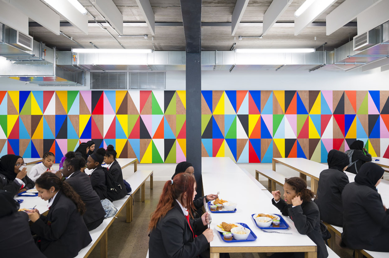 Burntwood school walls designed by Morag Myerscough