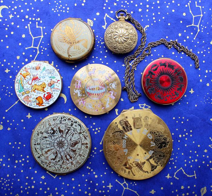 Vintage zodiac compacts