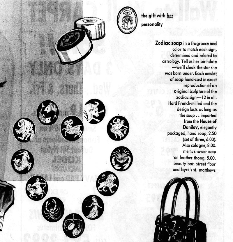 House of Danilov zodiac soaps ad, Feb_7__1968