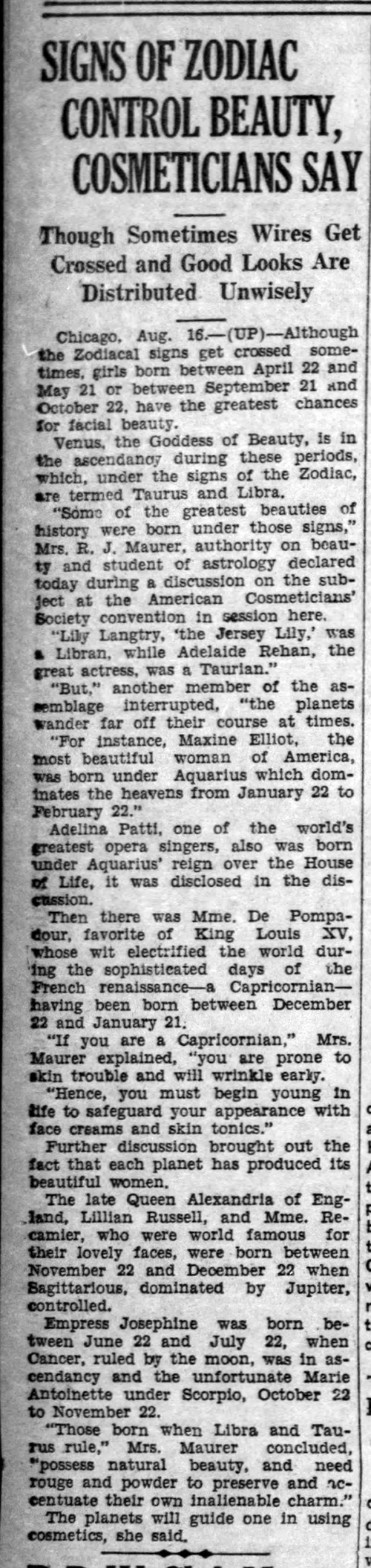 News article on zodiac beauty -Aug_17__1928_