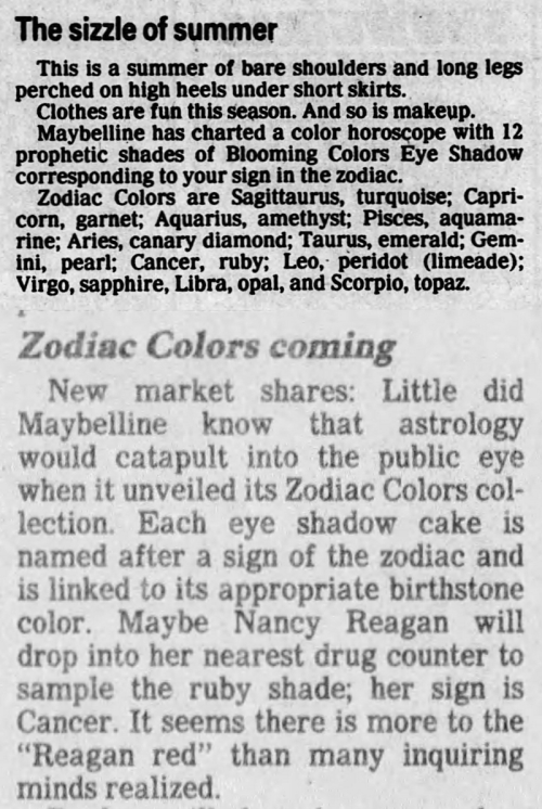 Maybelline zodiac eyeshadows 1988