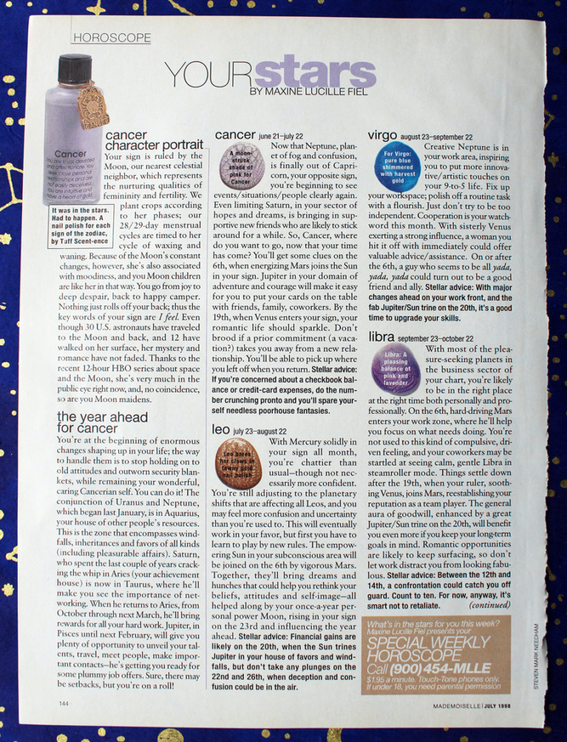Zodiac nail polishes by Tuff Scentence, Mademoiselle magazine July 1998