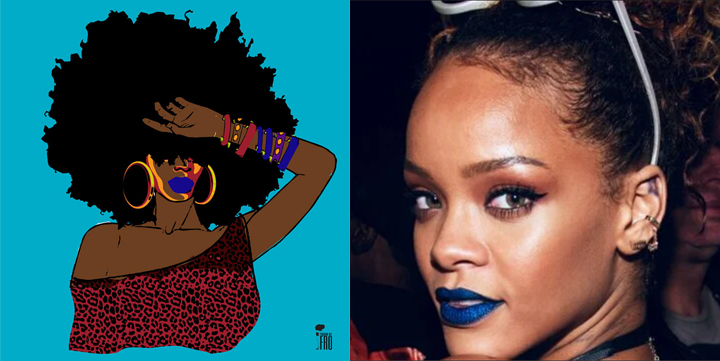 Dana Bly print and Rihanna wearing blue lipstick, 2015