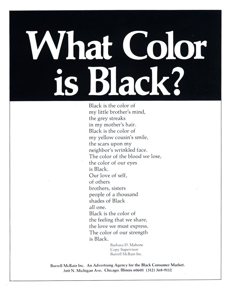 Emmett McBain, What Color is Black? ad, ca. 1971