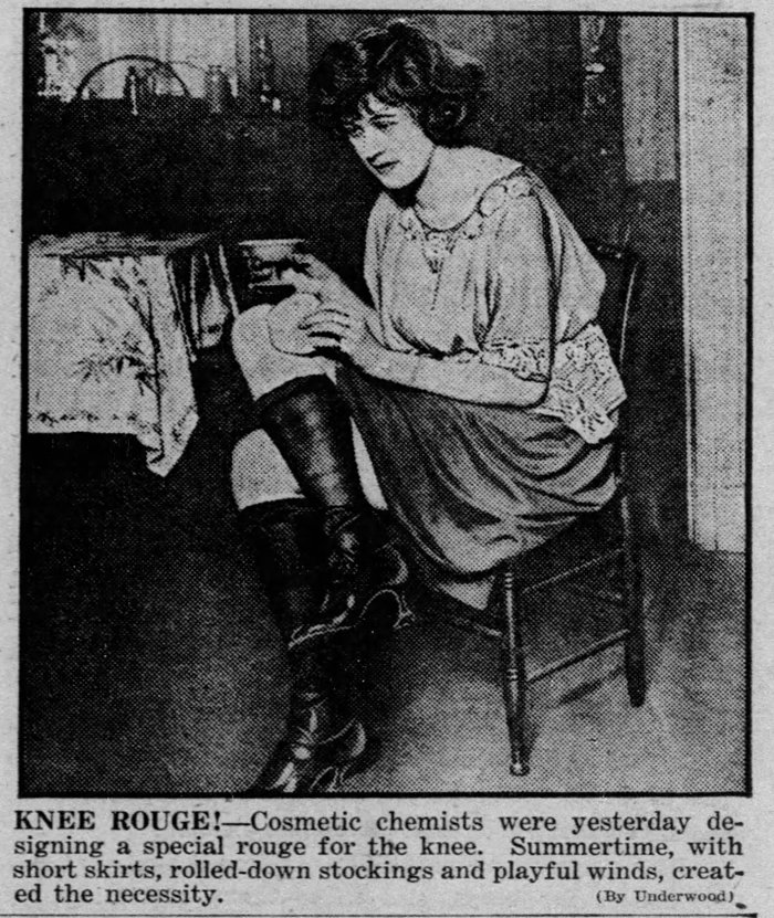 Flapper applying knee rouge, 1921