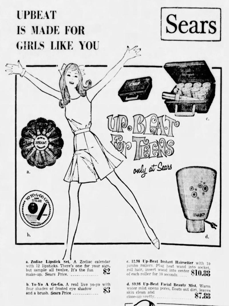 Sears Upbeat zodiac lipsticks ad, Aug_20__1969_