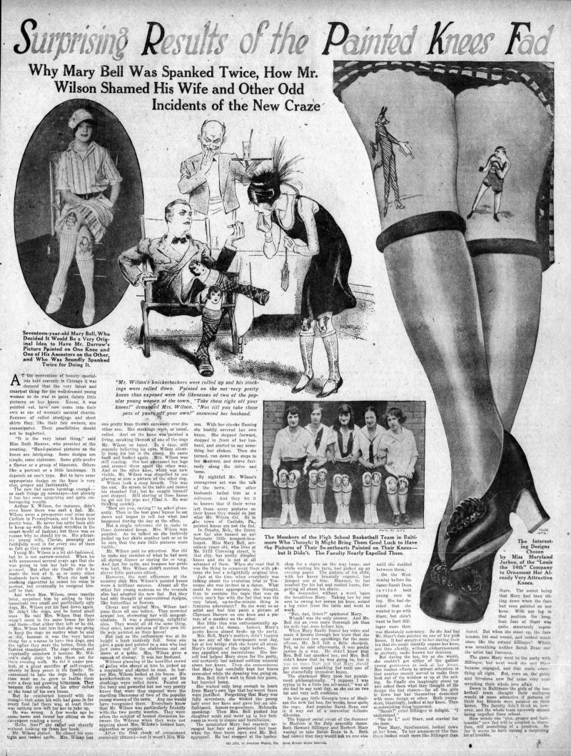 Knee painting feature, August 1925