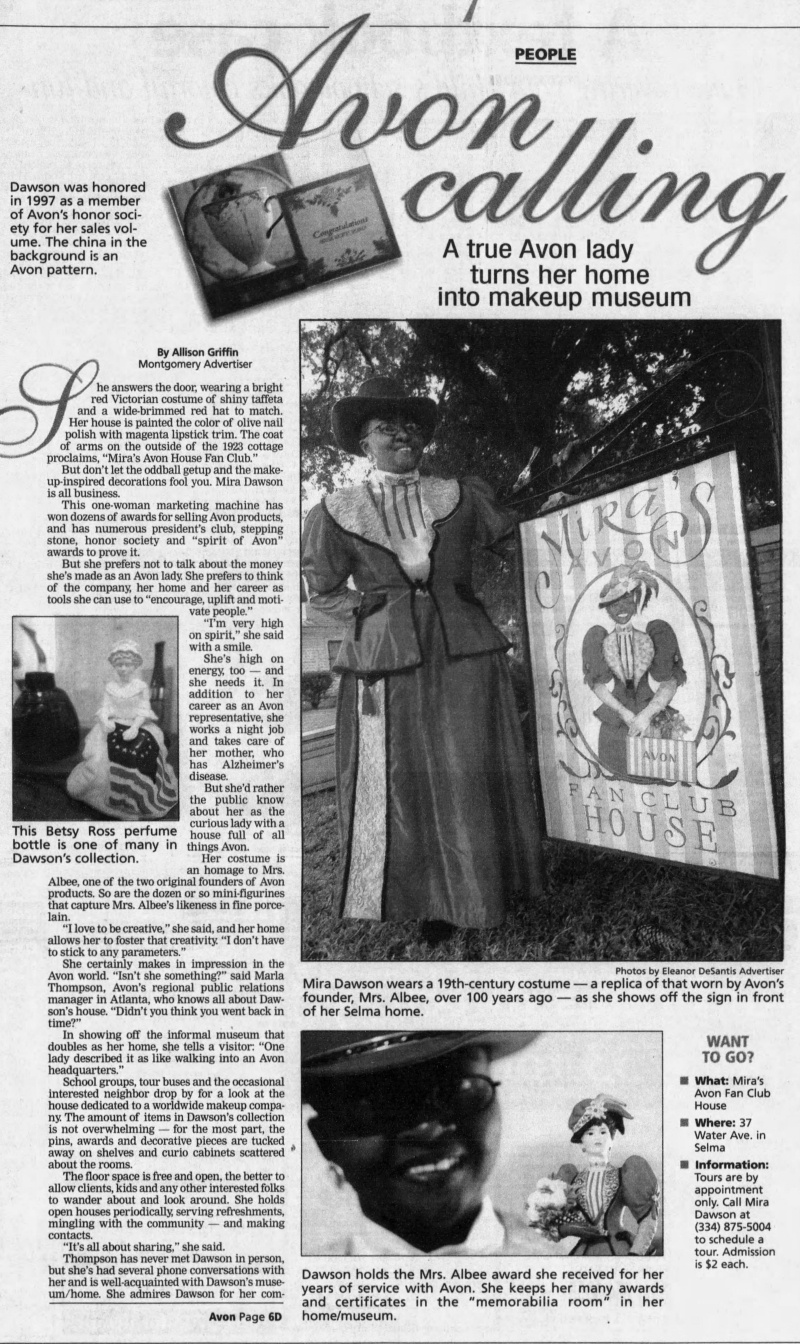 Newspaper article on Avon museum, Sept. 20, 2002