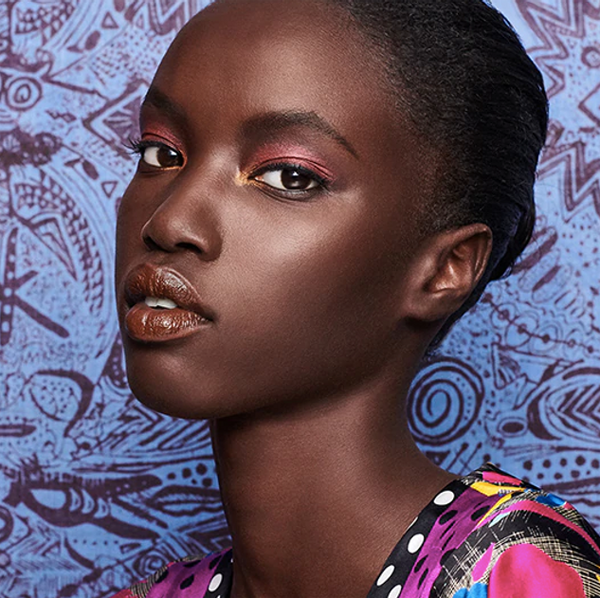 Anok Yai modeling the Duro Olowu collection for Estée Lauder