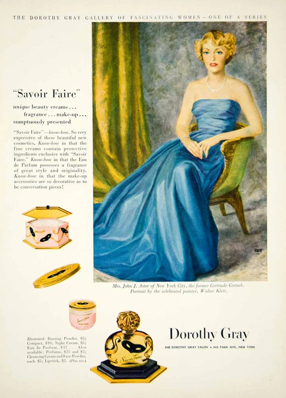 1949 Dorothy Gray ad featuring portrait of Mrs. John Jacob Astor (Gertrude Gretsch)