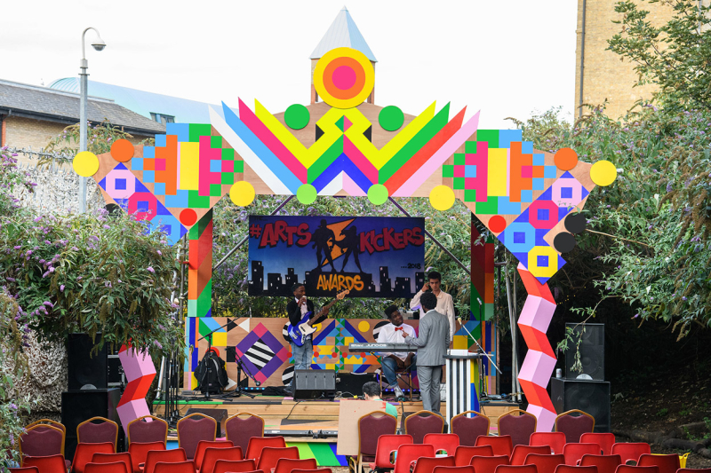 Artskickers stage designed by Morag Myerscough