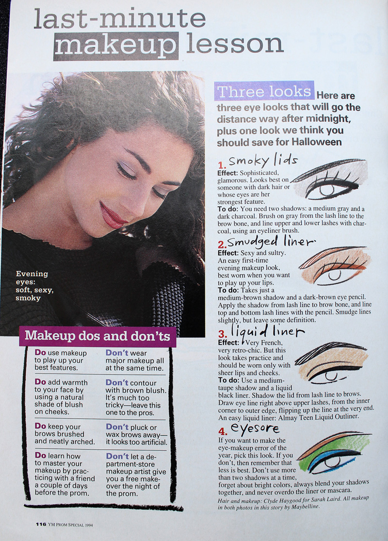 Boring prom makeup tips from YM Magazine prom edition 1994