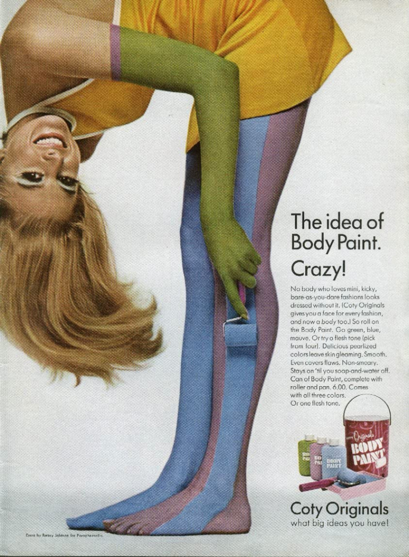 Coty body paint ad, 1967