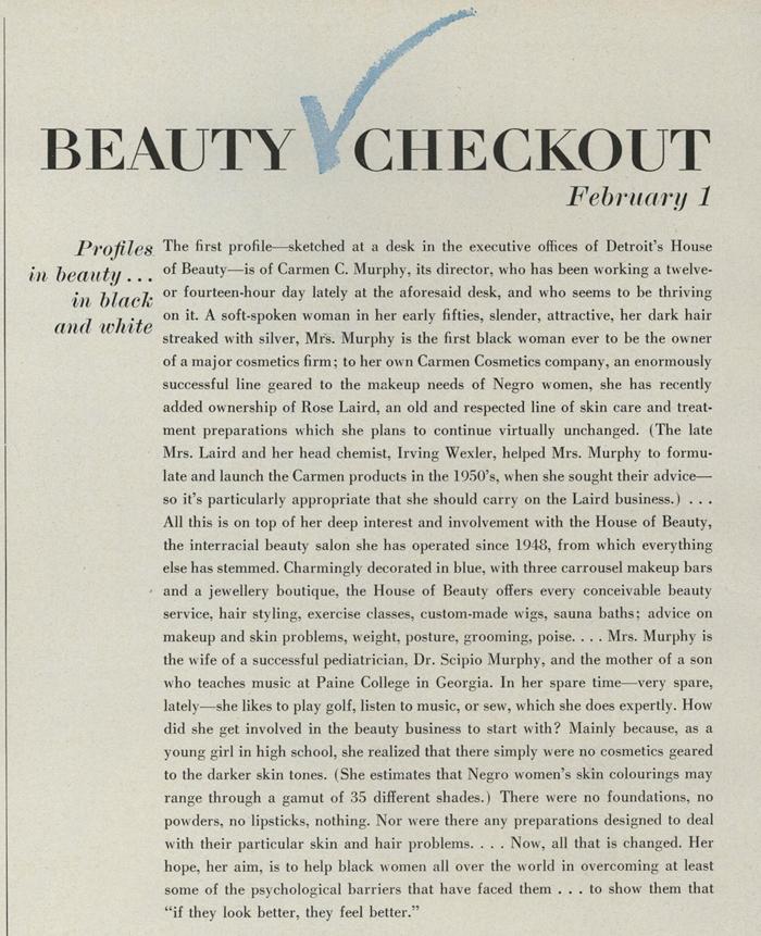 Carmen Murphy profile in Vogue, Feb 1., 1969