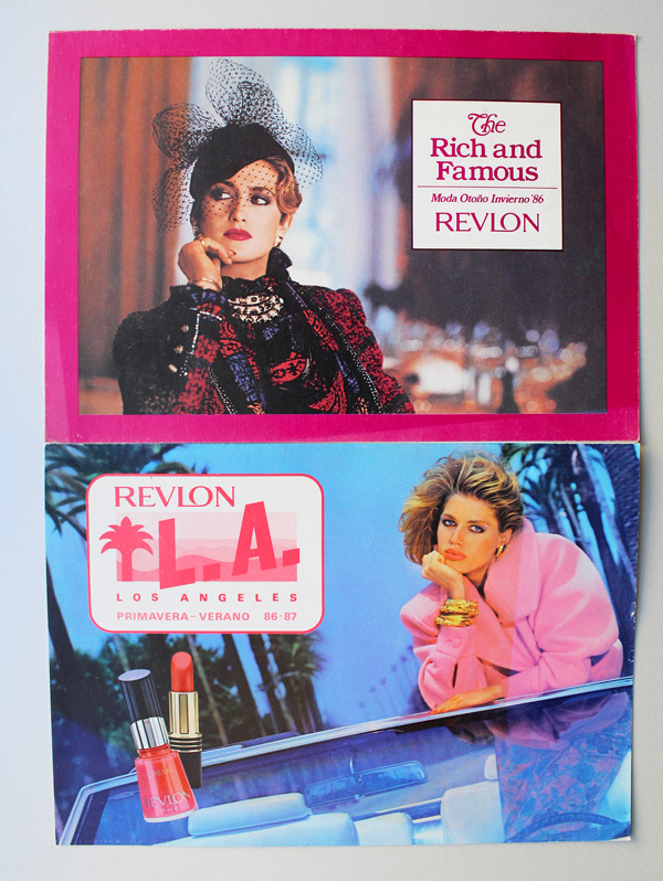 Revlon Rich and Famous and LA postcard, 1986-1987