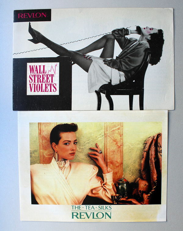 Revlon Wall Street and Tea Silks postcards