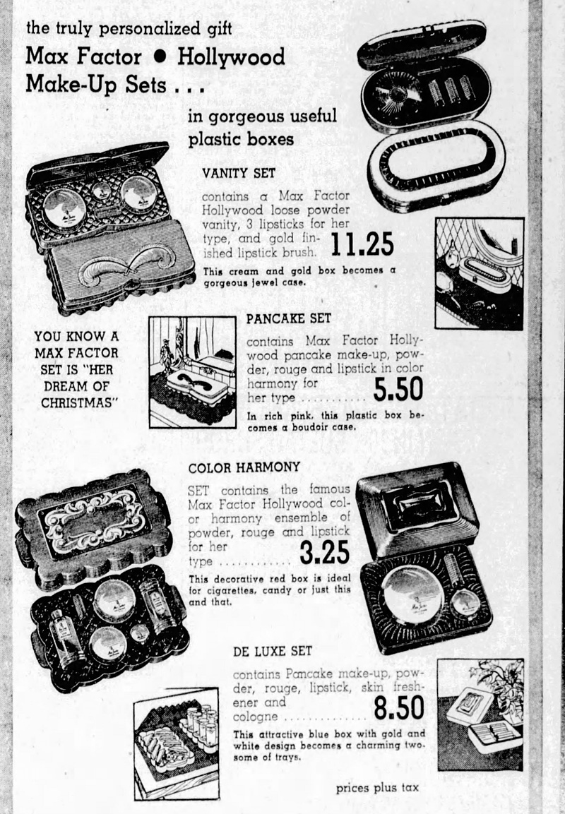 December 1948 ad for Max Factor gift sets
