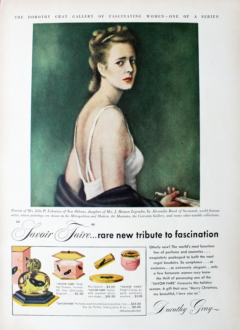 1947 Dorothy Gray ad featuring portrait of Mrs. John P. Labouisse (Olive May Moore)