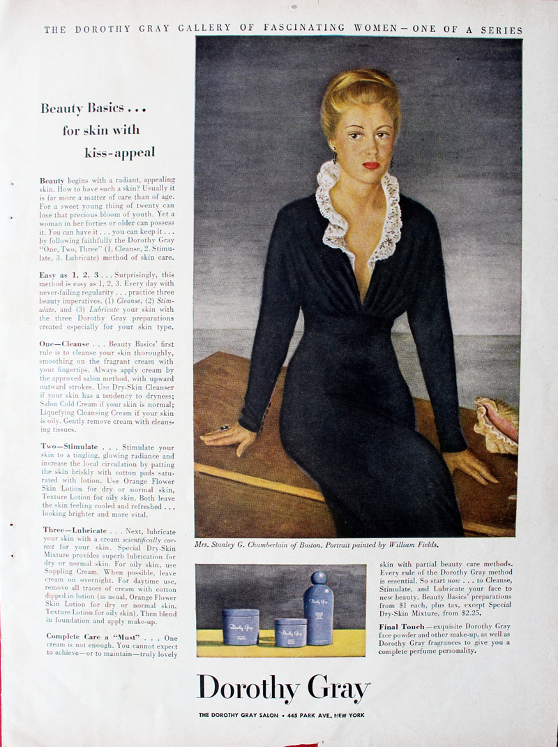 1949 Dorothy Gray ad featuring portrait of Mrs. Stanley G. Chamberlain (Esther Nice)