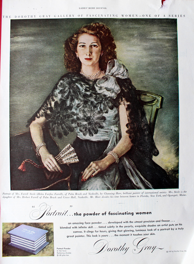 1947 Dorothy Gray ad featuring portrait of Mrs. Farrell Steele (Helen Fairfax Farrell)