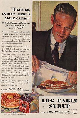Roy Spreter, Log Cabin syrup ad, 1931