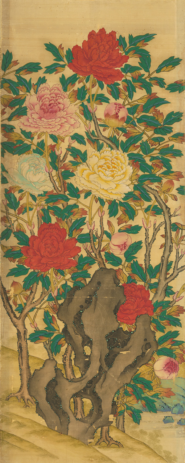 Peony and rock painted screen detail