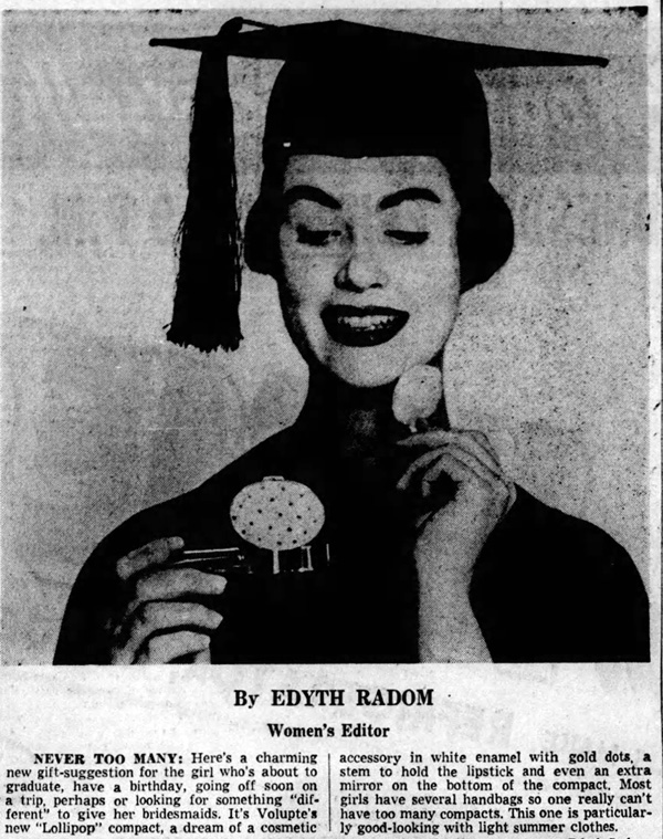 Volupte Lollipop ad, Hartford Courant, June 1954