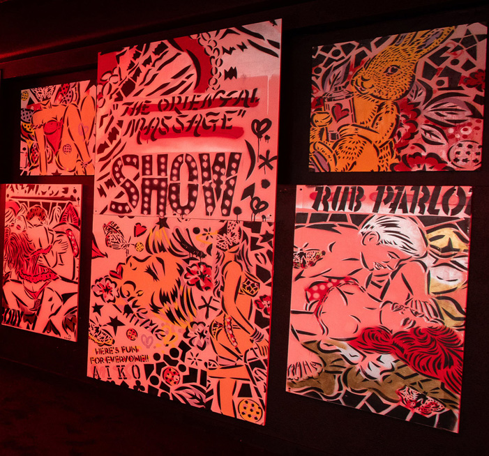"""Lady Aiko, walls for """"Beyond the Streets"""" exhibition, 2019"""