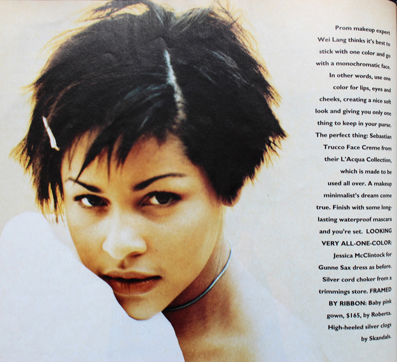 Monochromatic minimal makeup, Sassy magazine, 1993
