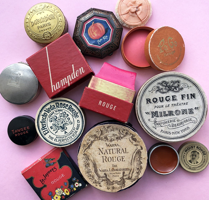 A selection of the Makeup Museum's vintage blushes, ca. 1920s-30s