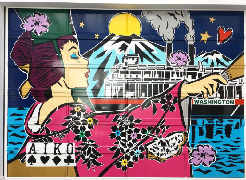 Lady Aiko, mural for Opening Ceremony (Seattle), 2017
