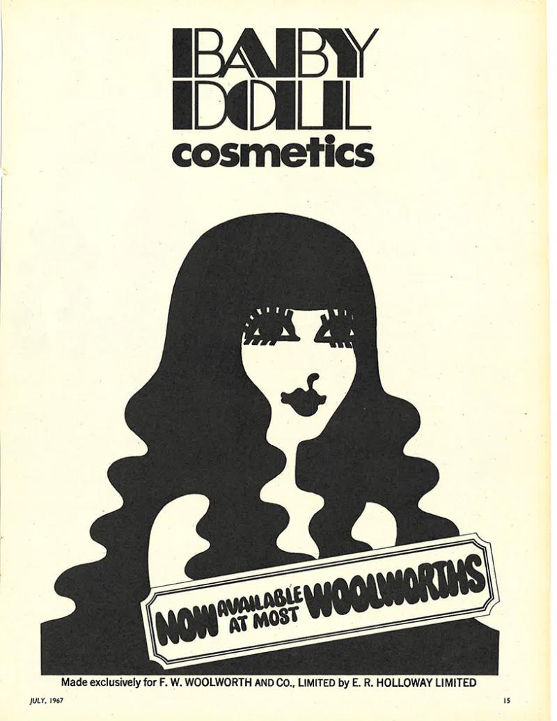 Baby Doll cosmetics ad, 1967